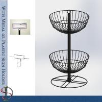 Wire Basket Counter with sign holder / Metal Display Rack with wire baskets for brand gifts / POP display stand