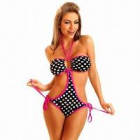 Buy cheap Black Bikinis Set and White Polka Dot, with Rose Edge, Made of 82% Nylon and 18% Spandex from wholesalers