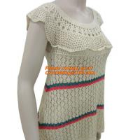 Buy cheap Women Fashion Crochet Shoulder Strapless Knitted Sweater Long Sleeved Embroidery Pullover Women Clothing from wholesalers