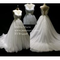 Buy cheap Chic Organza V Neck Appliqued Beaded Lace Wedding Dress Bridal Gown with Ribbon Band BYB-14508 from wholesalers