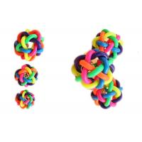 Buy cheap 7cm Knitted Plastic Squeaky Dog Balls Food Grade With Bell TPR Rainbow Colorful from wholesalers