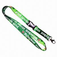 Buy cheap Flat Neck Polyester Lanyard with Plastic Detachable Buckle and Metal Snap Hook for Badge Holder Use product