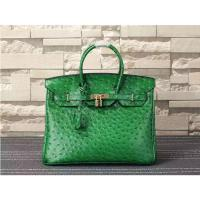 Buy cheap ladies high quality 35cm green ostrich grain cowskin leather designer bags top selling leather handbags L-RB4-17 from wholesalers