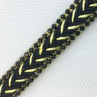 Buy cheap 2018 New Design Rhinestone Banding Black Weave with Crystal Hot Fix on Dress Shoes Strips Trimming Clothing Accessories from wholesalers