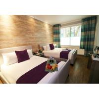 China Indonesia hotel manufactuer guestroom leather bed with Chaise sofa and wood wall panel decoration on sale