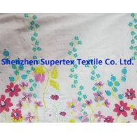 Buy cheap White Border Flower Custom Cotton Fabric For Blouses Skirts , Flower Print Fabric from wholesalers