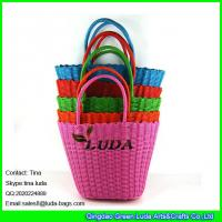 Buy cheap LUDA candy color straw basket bag cheap gift pp straw beach bag from wholesalers