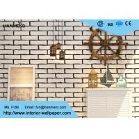Buy cheap White Fake Brick Wall Covering / Removable PVC Vinyl Wallpaper Friction - Resistance from wholesalers
