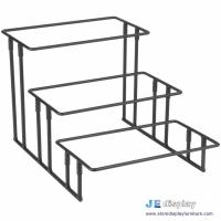 Buy cheap China made black metal craft stepped three tier wrought iron art rectangular food display stand and racks from wholesalers