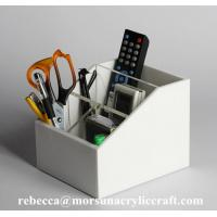 Buy cheap Customized plexiglass desktop organizer white acrylic container for office and home from wholesalers