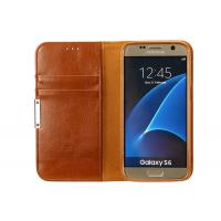 Luxury Leather Phone Cases Galaxy S6 Brown With Magnet / Card Pocket