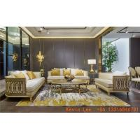 Buy cheap Luxury villa interior furniture custom made high end fabric sofa set 123 light luxury hand made leaf for wood structure from wholesalers