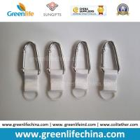 Buy cheap Customized Silver D-Shaped Carabiner with Short White Webbing Strap and Rubber Round Loop for Hand Washing Bottle from wholesalers