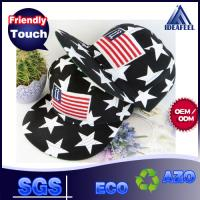 Buy cheap Anti - Wrinkle Black Cotton Snapback Baseball Caps 3D Logo USA Flag Strip from wholesalers
