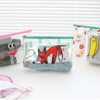 Carton Printing PVC Zipper Bag , Transparent Travel Cosmetic Makeup Bag