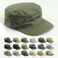 Buy cheap 2019 Vintage Military Hats Cotton  Men Women Flat Top Cap Solid Color Summer Autumn Spring Visor Hat from wholesalers