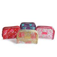 Waterproof Custom Cosmetic Bags , PVC Printed Zipper Tiny Toiletry Makeup Pouch Bag