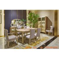 Buy cheap Light luxury dining room furniture Nice wood table with Leather dining chairs for Villa home interior design furniture product