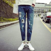 Buy cheap Printed Flowers Womens Slim Straight Leg Jeans Middle Rise Stone Washed from wholesalers