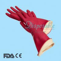 Buy cheap Spray cotton flock lined rubber gloves household from wholesalers