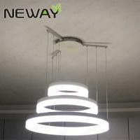 Buy cheap Modern LED Ring Light Arcylic Circle LED Pendant Suspension Lights Hot 3 Rings Crystal Led Chandelier for High Ceiling from wholesalers