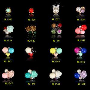 China Rose Flower Pearls Alloy 3D Nail Jewelry,Glitter Rhinestones Nail Design ML1535-1550 on sale