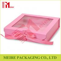 Buy cheap Pink color folding gift box with clear window, magnet and ribbon clousre for baby girl clothing from wholesalers