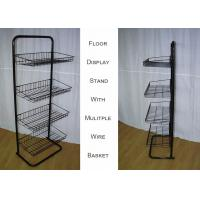 Buy cheap Steel 4 Shelves Metal Floor Stand  / Single Side Wire Basket Display Stand Against Wall from wholesalers