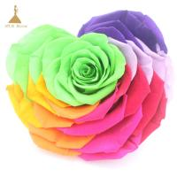 Buy cheap 10cm Grade A Big Heart-Shape Preserved Rainbow Rose Flower for home weddiing decoration from wholesalers