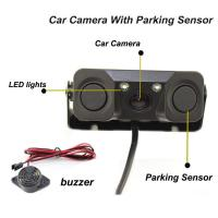 Reverse camere New 2 in 1 Sound Alarm CCD HD Car Reverse Backup Camera Parking Radar System guide line with data