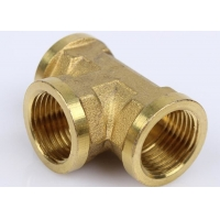 China Wholesale Price 99% Copper Pipe Thread Equal Tee Female NPT 1/2 3000# C70600 Brass Casting Pipe Fittings on sale