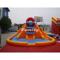 Buy cheap Basketball Court Shaped Inflatable Dry Slides With Pool / Three Slides Anti - UV from wholesalers