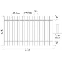 Buy cheap Pressed Spear Top 2100mm*2450mm Hercules Steel Fence Panels 2 xrail 40mm RHS x 1.6mm spacing 125mm upright 25mm x 1.2mm from wholesalers
