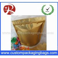 Buy cheap Matte Golden Plastic Ziplock Bags , Mylar Foil Storage Pouch from wholesalers
