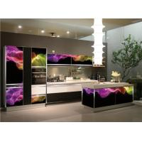 Buy cheap Wholesale Temped 3D glass door L shape  kitchen cabinet with 5-burnner stove ,Midea microwave and oven from wholesalers