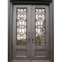 China Modern square top wrought iron entry door with screen security doors swing open finish door on sale