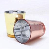 Buy cheap Mecury glass candle jar rose gold electroplating candle holders from wholesalers