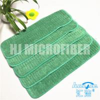 Buy cheap Green Microfiber Wet Mop PadsHard wire drawn coral fleece piped wet mop pad from wholesalers