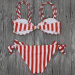 Wholesale and Retail 2018 Women Sexy Striped Bowknot Brazilian Bikini Set