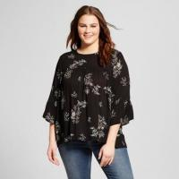 Buy cheap Flare Sleeve Plus Size Ladies Babydoll Blouse Clothing Floral Print Multi Colors from wholesalers