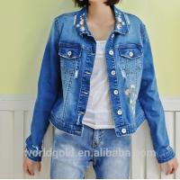 Buy cheap Fancy Distressed Stretch Embroidered Denim Jacket For Womens Fashion Design from wholesalers