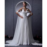 Buy cheap Customized Elegant Chiffon open back bra Wedding Dresses with cape , white from wholesalers