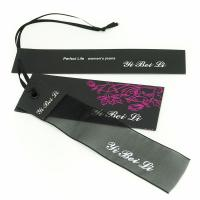 Buy cheap Clothes Hang Tags Labels With Ribbon String For Lady Coat / Dress 4x8.5cm 5x9cm from wholesalers