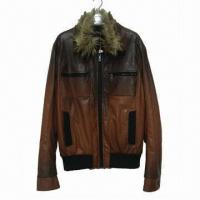 Buy cheap Stylish Men's Leather Jacket, Made of Leather/Polyester, Various Fabrics/Styles/Colors Available from wholesalers