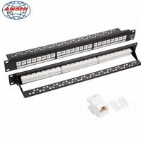 Buy cheap CAN OEM 1U 19'' Inch 24 Port CAT6 UTP Rack Mount Patch Panel with RJ45 Keystone Jack from wholesalers