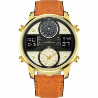 Buy cheap Waterproof 50M Leather Band Three Time Analog And Digital Watches For Men from wholesalers