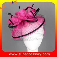 Buy cheap 0918 hot sale  fashion sinamay fascinators hats and caps with veil ,Fancy Sinamay fascinator  from Sun Accessory from wholesalers