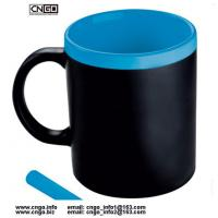 Buy cheap wholesale custom 11oz black Chalk mug Memo mug Write Message mug can erase ceramic mug cup from wholesalers