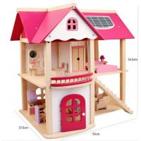 Buy cheap Hot sale High quality two floor pink miniatures wooden toy furniture house for girls from wholesalers