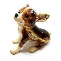 Buy cheap Fashion Metal Alloy Pewter Rhinestone Crystal Enamel Dog Trinket Jewelry Box from wholesalers